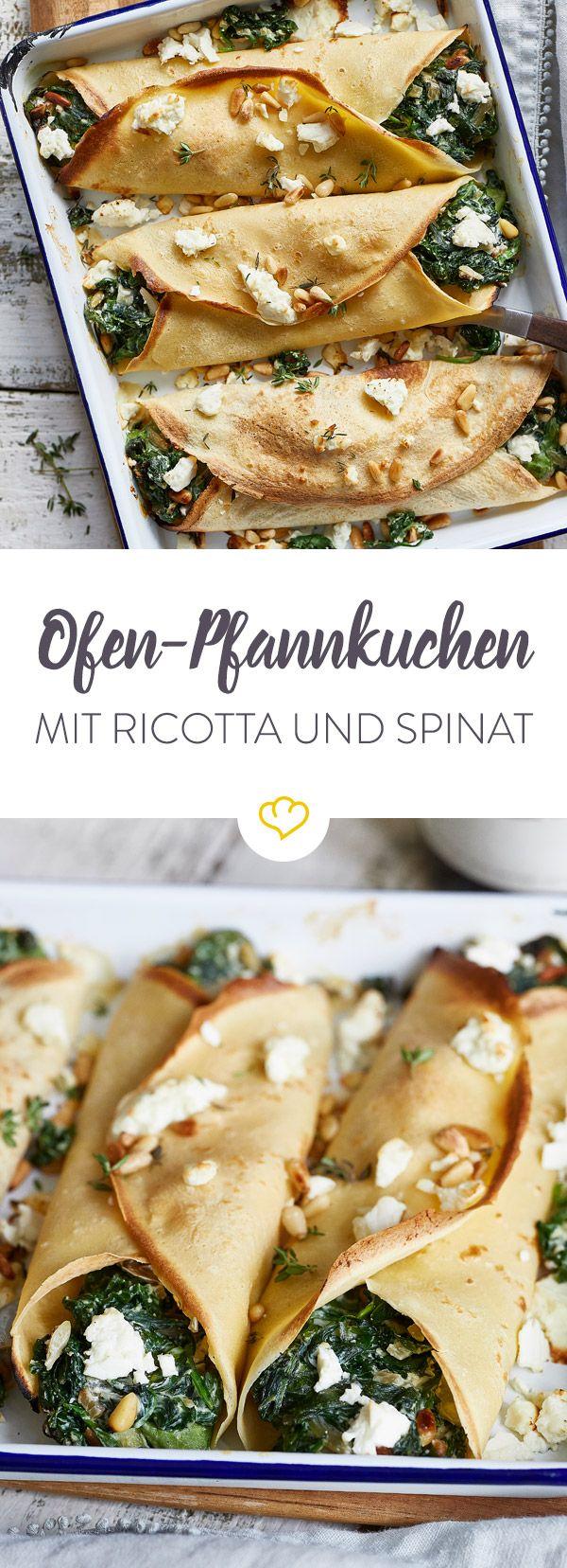 Zu grün, zu gesund und kein bisschen wie Spaghetti mit Tomatensauce. Verhilf Spinat zu einem neuen Image und kombinier ihn mit Ricotta und Ofen-Pfannkuchen.