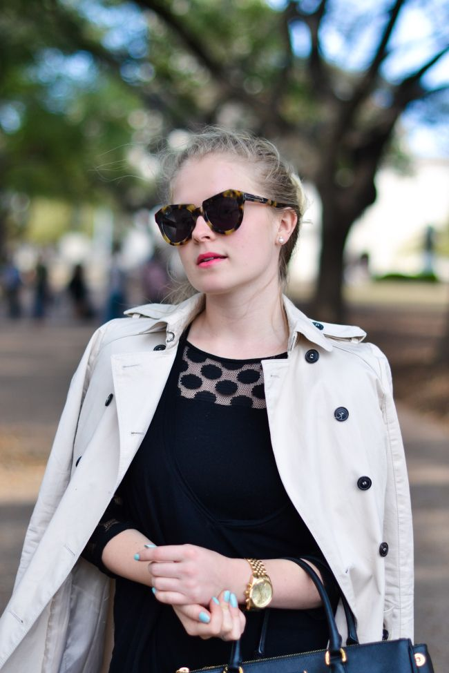 My perfect wardrobe staples: A trenchcoat, huge sunglasses, a black dress and a pair of pointy black shoes. #staples #fashion