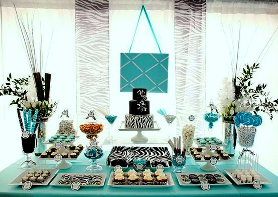 Wonderful Non Traditional Teal And Black Dessert Table For A Baby Shower, Designed By  Lori Rizzo