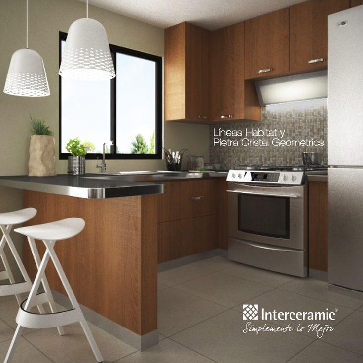 Habitat y pietra cristal geometrics de interceramic for Cocinas para pisos pequenos