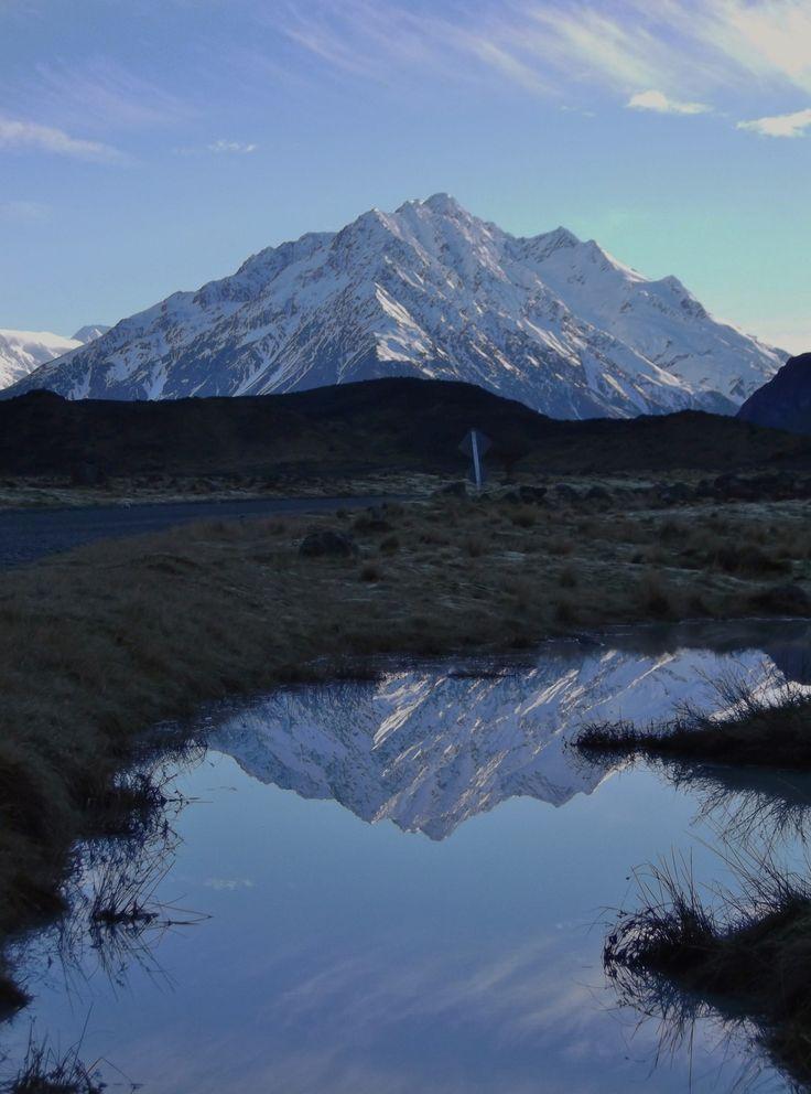 Mt Malte Brun reflections in the Tasman Valley, near Mt Cook, New Zealand - by Jon Reid