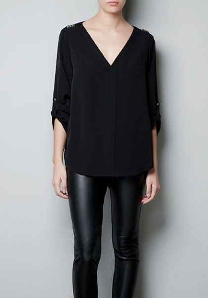 Black Rivet V-neck Long Sleeve Chiffon Blouse