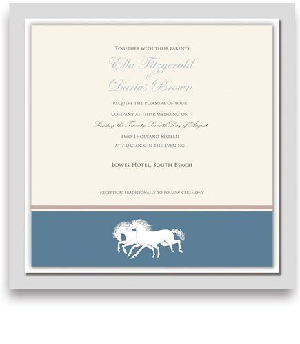 150 Square Wedding Invitations - Horse Wisper Steel by WeddingPaperMasters.com. $393.00. Now you can have it all! We have created, at incredible prices & outstanding quality, more than 300 gorgeous collections consisting of over 6000 beautiful pieces that are perfectly coordinated together to capture your vision without compromise. No more mixing and matching or having to compromise your look. We can provide you with one piece or an entire collection in a one stop s...