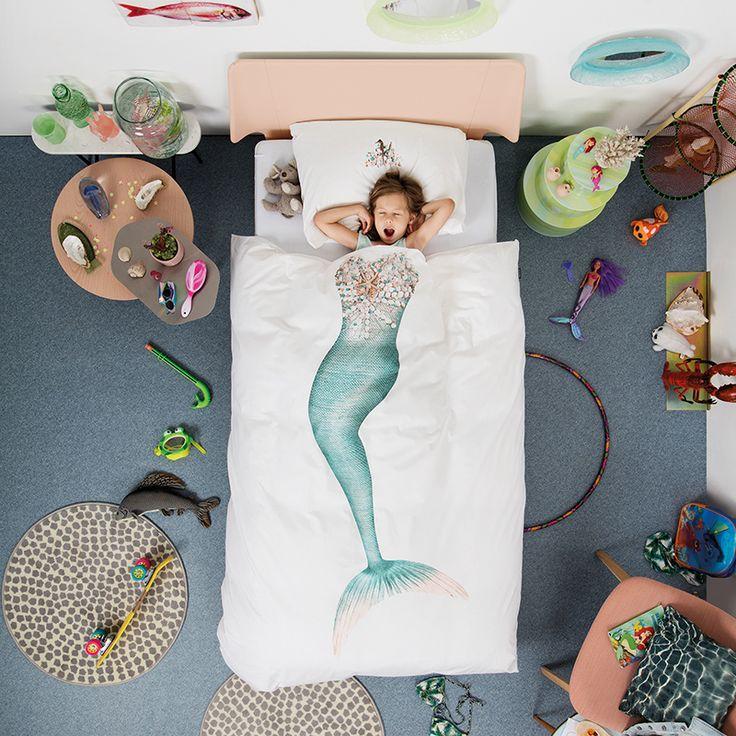 Zeemeermin dekbedovertrek (1p) - SNURK - https://www.livingdesign.be/nl/merken/snurk-beddengoed/kids