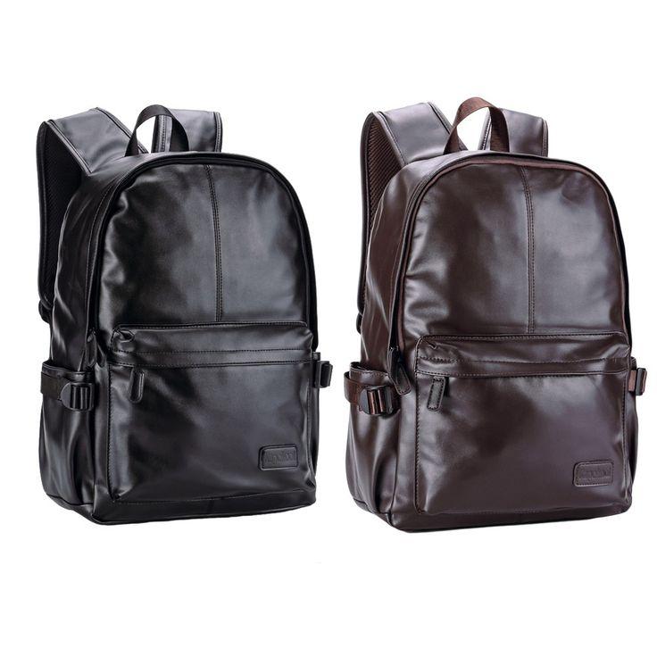 Only US$31.04, black Men Leather Backpack PU School Bag Laptop Backpack Hiking - Tomtop.com