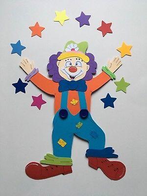 Fensterbild Tonkarton Clown Karneval Deko Handarbeit Motiv 6 NEU XXL