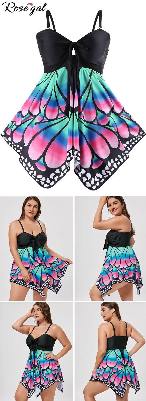 Free shipping worldwide.Plus Size Skirted Butterfly Print Blouson Tankini. #tankini #plus size tankini #butterfly #summer #hawaii #swimwears