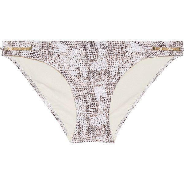 Heidi Klum Swim - Sun Dappled Decadence Low-rise Embellished... (62 AUD) ❤ liked on Polyvore featuring swimwear, bikinis, snake print, swim tops, snake print bikini, swim bikini bottoms, low rise bikini and bikini bottom swimwear