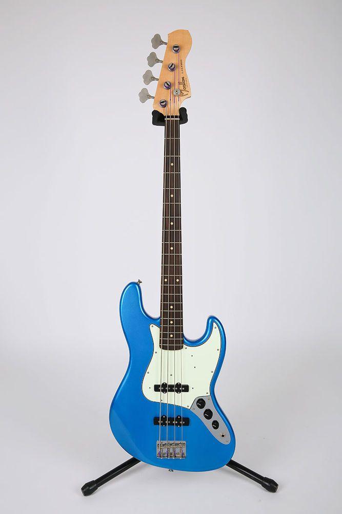 Moollon J Classic Jazz Bass Blue 4 String Silver 60's Sound Ebony Quarter-Sawn #Moollon #JazzBass