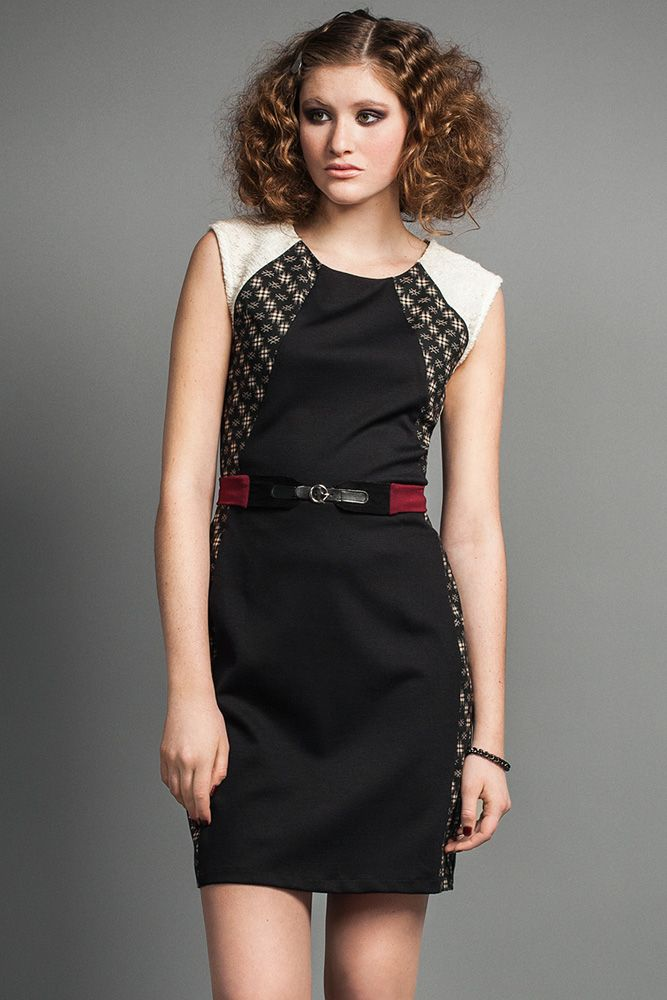 Galina Dress by Jennifer Glasgow.  Fitted dress with contrast detailing.  Made in Canada.