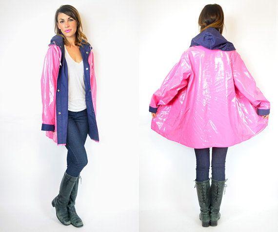adrette mod BUBBLEGUM Rosa Kapuze übergroßen pvc REGENMANTEL Jacke, extra klein-groß