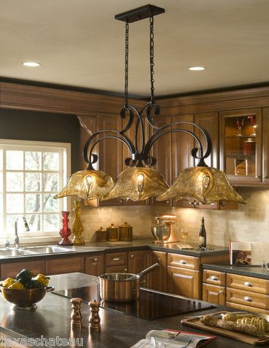 French country bronze amber art glass kitchen island for Over island light fixtures