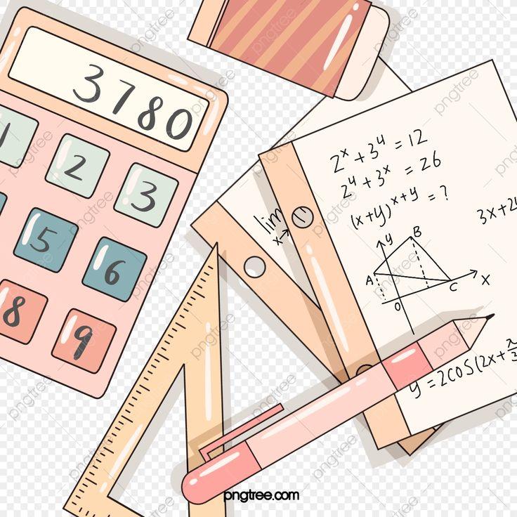 Pink cute math stationery elements mathematics