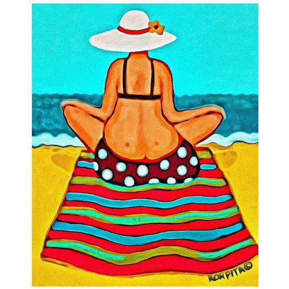 Whimsical Woman Beach Folk Art - Colorful Seashore 8x10 Glicee Print from Original Coastal Painting - Magic Carpet Ride - Korpita ebsq #beachart #magiccarpetride