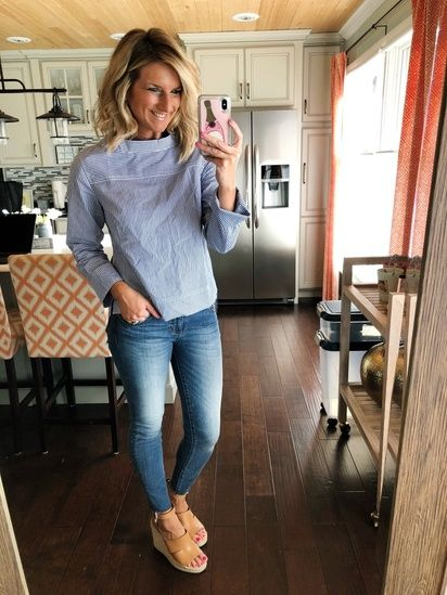 e23f33152c98 How to Style a Funnelneck Top    Blue and White Striped Top and Released Hem  Skinny Jeans    Perfect Wedge Sandal so comfy and pairs well with any  outfit ...