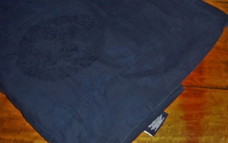 Ralph Lauren Dignitary King Flat Sheet Navy Blue Dragon Conservatory Sateen EUC #RalphLauren #Asian