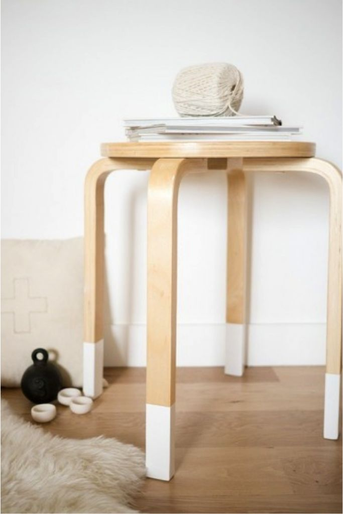 Wood grain + white = adding character to IKEA frosta stool