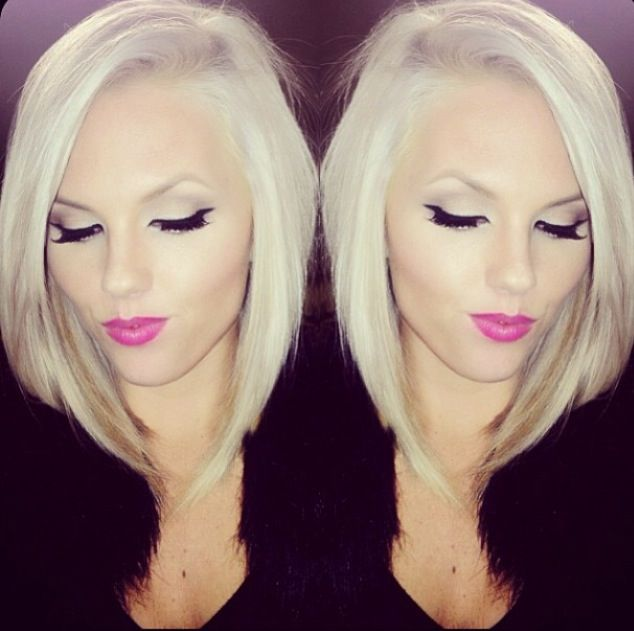 Long angled bob hairstyle..... love this color and style (: