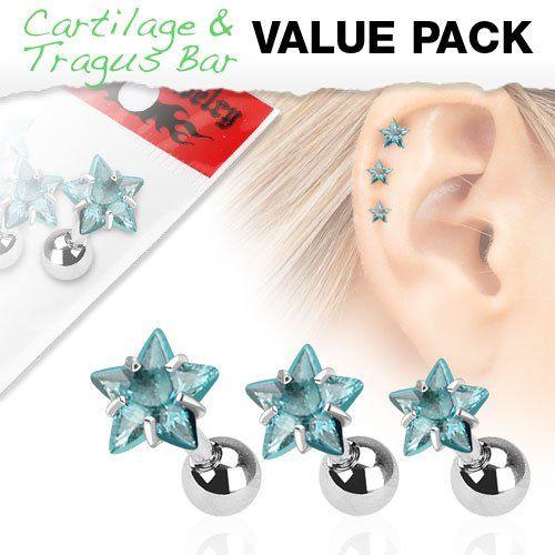 lot de 3 piercings oreille, hélix tragus, cartillage strass étoile bleu