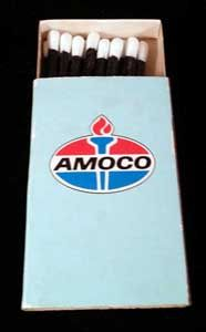 Would you mix gasoline and matches? Sure, with this Amoco matchbox! Put it in your collection.