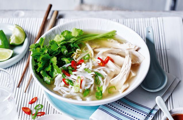 Grab a bowl of this Vietnamese pho, with its silky noodles, succulent chicken and aromatic broth. Find more soups & Vietnamese recipes at Tesco Real Food.
