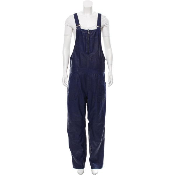 Pre-owned Acne Chagall Leather Overalls ($545) ❤ liked on Polyvore featuring jumpsuits, blue, blue bib overalls, leather jumpsuit, leather overalls, overalls jumpsuit and zipper jumpsuit