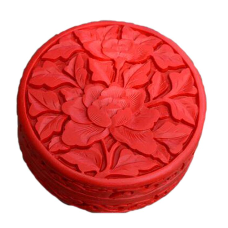 Carved Lacquerware Small Jewelry Box flat 2 flowers