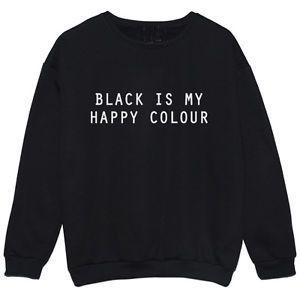 Черный мои счастливые цвет черный Crewneck женщин мода одежда наряды девушки пуловер толстовки потливость