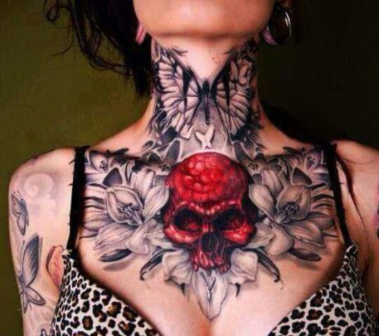 butterfly tattoo, chest piece, chest tattoo, neck tattoo, red, skull, tattoo