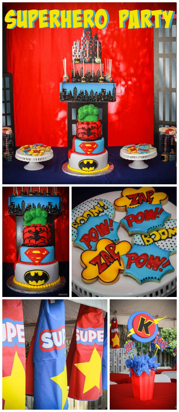 A superhero boy birthday party with capes, masks, favors and food trucks! See more party planning ideas at CatchMyParty.com!