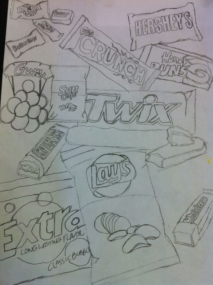 sketchbook - Junk food.  Fill the page with junk food.  Any medium