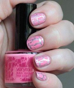 серо-розовый маникюр, серо-розвый кракелюр, маникюр с серым и розовым лаком, маникюр в серо-розовом цвете