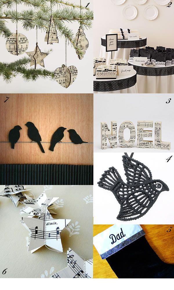 Christmas Decorating: Day 4: Black & White Sheet Music — Glamour Drops