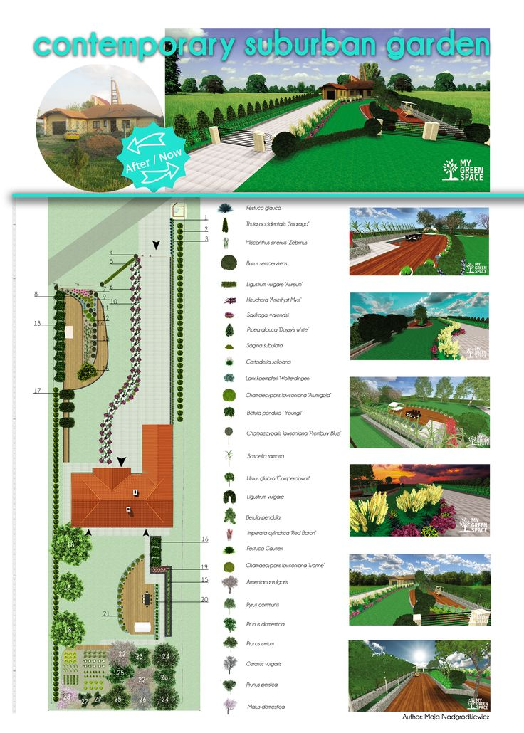 Longitudinal, contemporary garden in the suburbs.  Want to design your own garde? Go to myhttp://mygreenspace.pl/en .