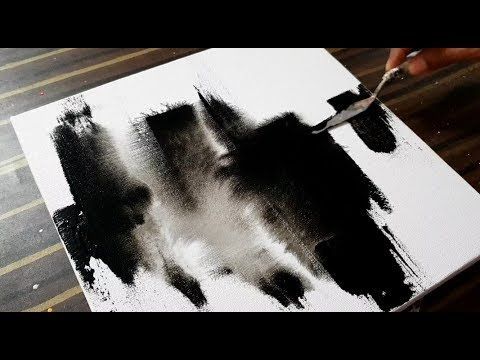 The creation of abstract painting on canvas / Black and white / Acrylic / Project 365 days / Day No. 0116 – YouTube