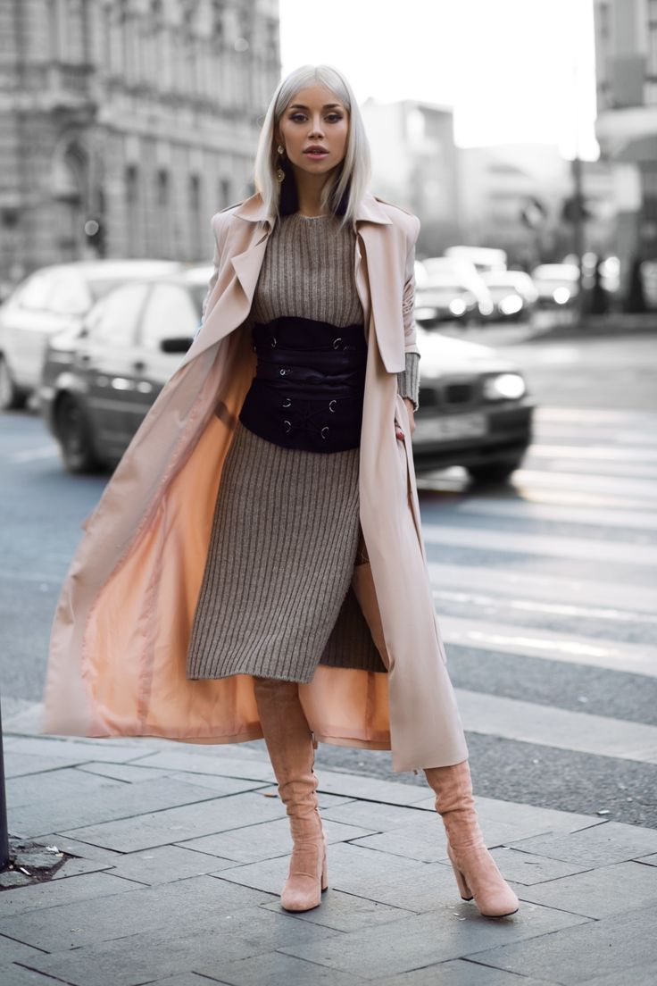 Nude Clara Suede Boots from Joyas, TGH X Alina Ceusan Soft Pink Coat, Ocko Shop Knitted Dress, AEP Earrings, Ludique Diamont White Fishnets, DIY corset.