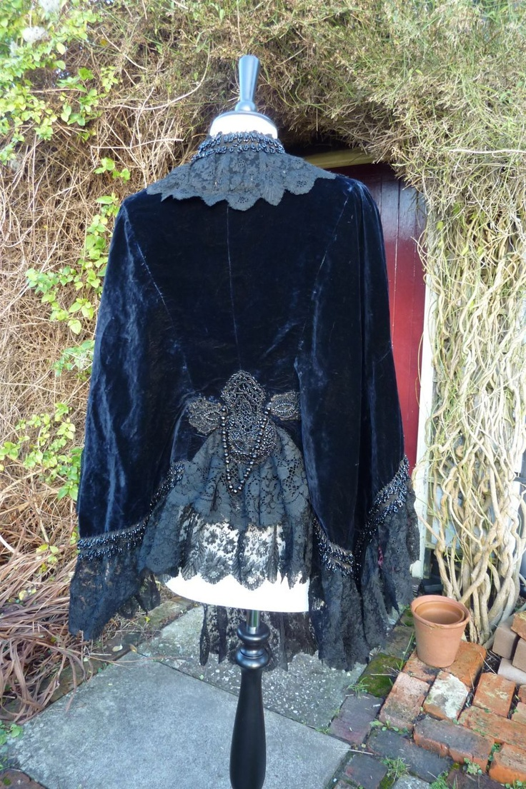 Antique Victorian Blue Velvet and Jet Mantle/Cape