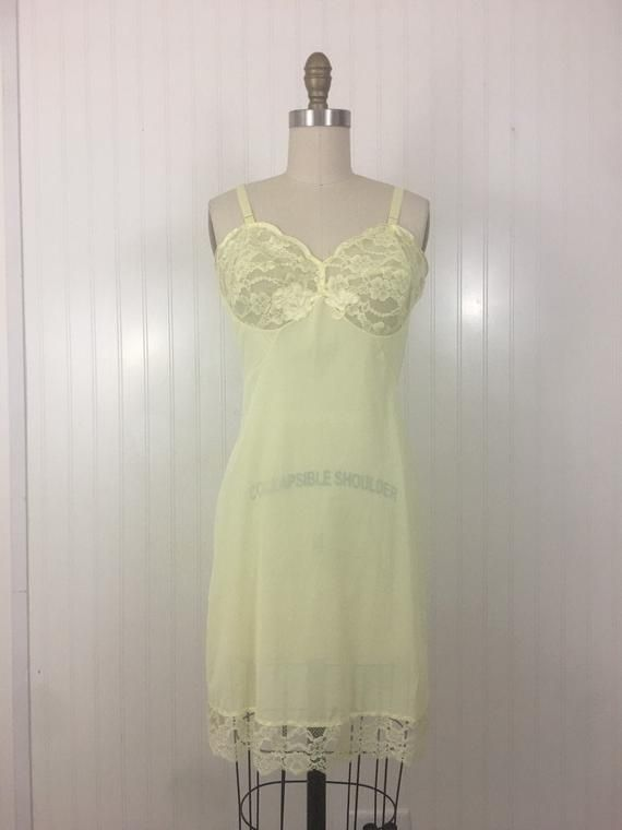 Vintage Yellow Baby Doll Nightie Slip Dress with Applique Flowers Embroidery on Bust