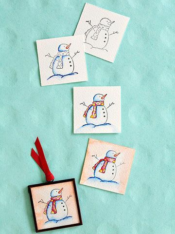 Interesting Concept...watercolor then possible frame on foam. How to Make a Watercolor Ornament