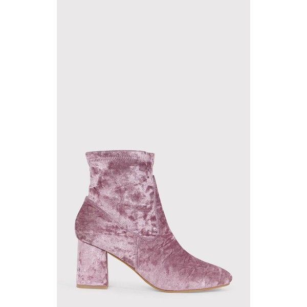 Hayden Blush Crushed Velvet Ankle Boots ($20) ❤ liked on Polyvore featuring shoes, boots, ankle booties, pink, stretchy boots, pink ankle boots, short boots, ankle bootie boots and zip up boots