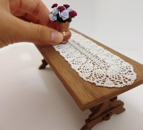 Miniature crochet oval doily by MiniGio on Etsy