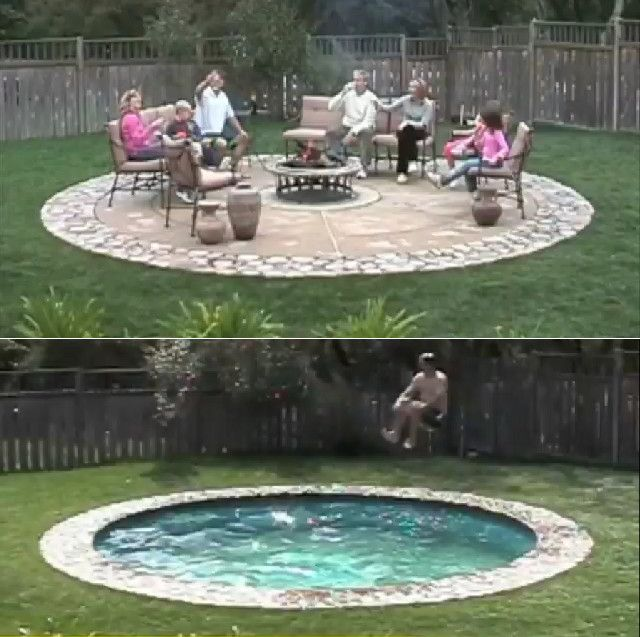 I need one of these!! Hidden Water Pool. SO freakin cool, turns into a patio... safer and more practical for cold weather months!