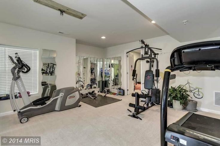 Contemporary Home Gym with Krabb mirror (set of 2), Tone fitness 20 lb. hourglass dumbbell set, Carpet, specialty door