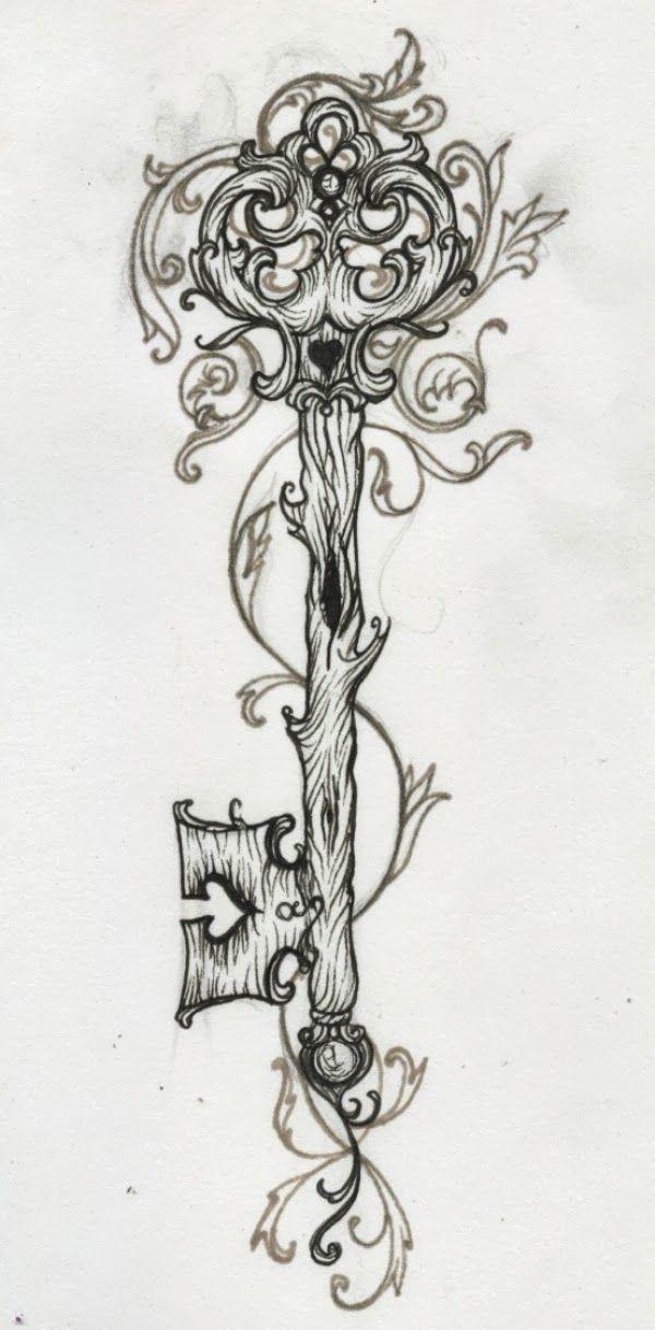 antique key tattoo | vintage key tumblr schl ssel tattoo lilz romawi style skeleton key ...