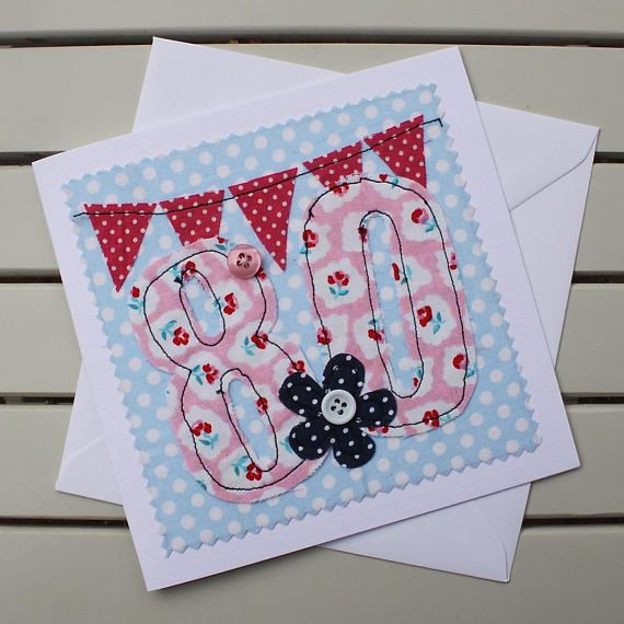 258 best handmade cards images on pinterest 80th birthday card handmade machine embroidered 80 personalised insert bookmarktalkfo Image collections