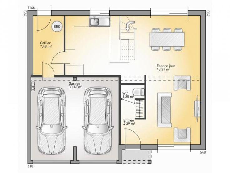 Plan de maison : RDC modèle Lumina : maison traditionnelle en L à étage de 116m2. 3 chambres + 1 ...