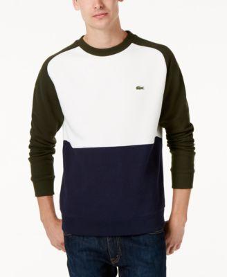 LACOSTE Lacoste Men's Brushed Piqué Fleece Colorblocked Sweatshirt. #lacoste #cloth #