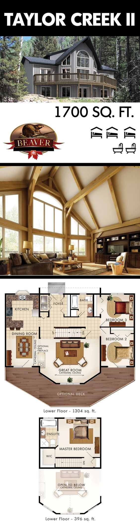 Most house plans are only symmetrical from the exterior. The Taylor Creek II brings the symmetry inside throughout the entire main floor. #BeaverHomesAndCottages: