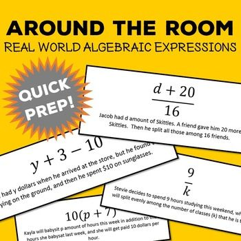 This activity is a great way to get your students creativity flowing! Around the Room -  algebraic expressions