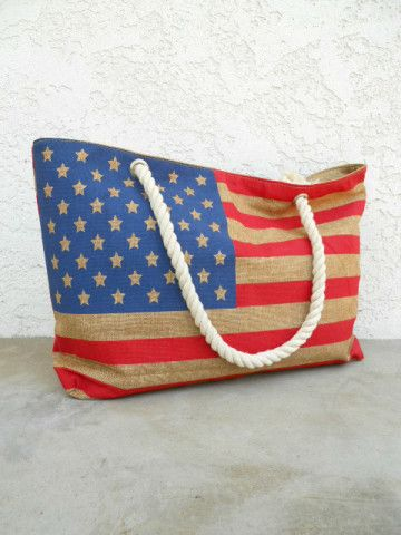 American Flag Rope Handle Tote. Now is the answer to carrying all of your fun stuff to that 4th of July picnic/outdoor party:)